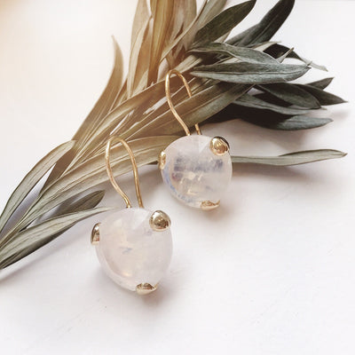 FEARLESS DROP EARRINGS - RAINBOW MOONSTONE & GOLD - SO PRETTY CARA COTTER
