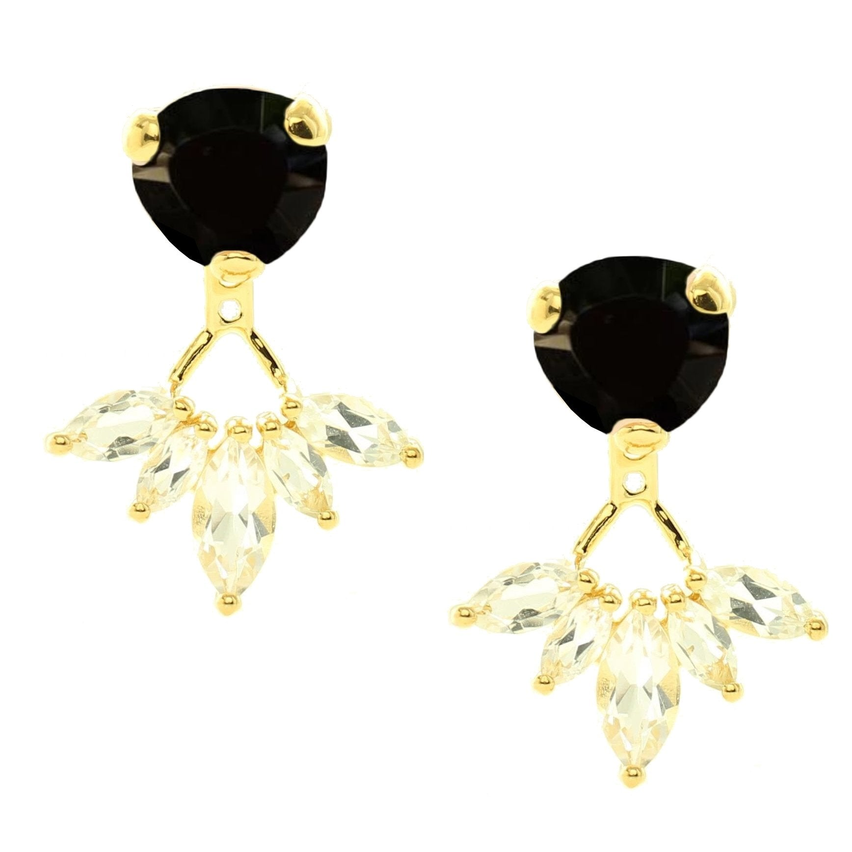 Fearless Ear Jackets - Black Onyx, White Topaz & Gold - SO PRETTY CARA COTTER