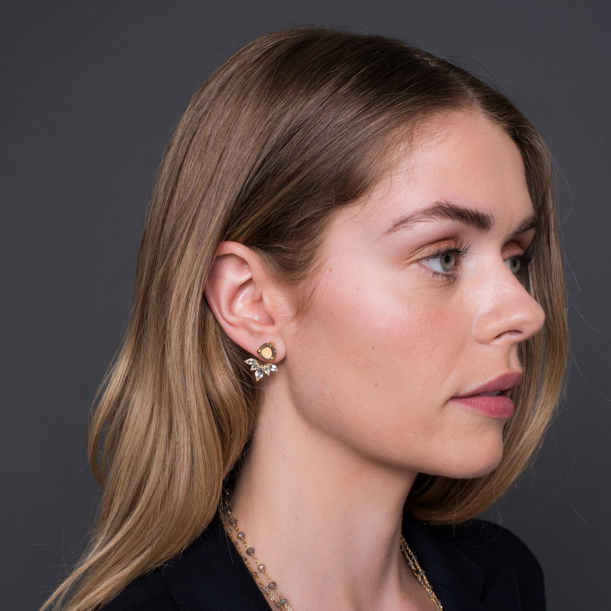 Fearless Ear Jackets - Labradorite, White Topaz & Gold - SO PRETTY CARA COTTER