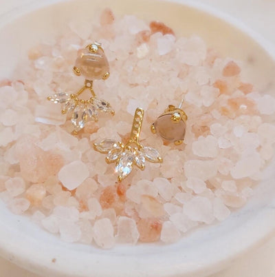 Fearless Ear Jackets - Pink Quartz, White Topaz & Gold - SO PRETTY CARA COTTER