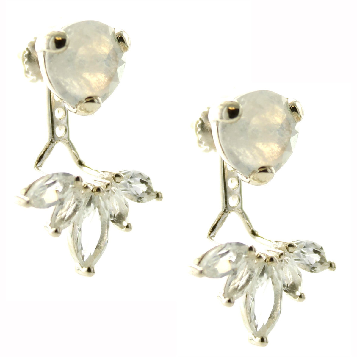 Fearless Ear Jackets - Rainbow Moonstone & Silver - SO PRETTY CARA COTTER