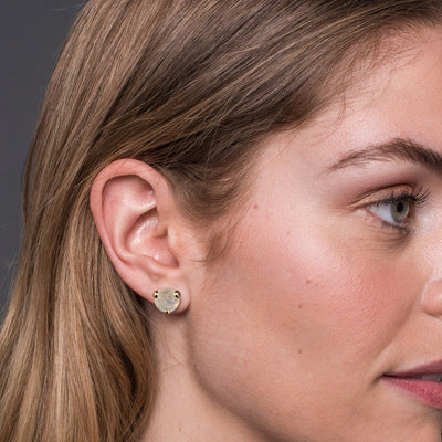 Fearless Ear Jackets - Rainbow Moonstone, White Topaz & Gold - SO PRETTY CARA COTTER