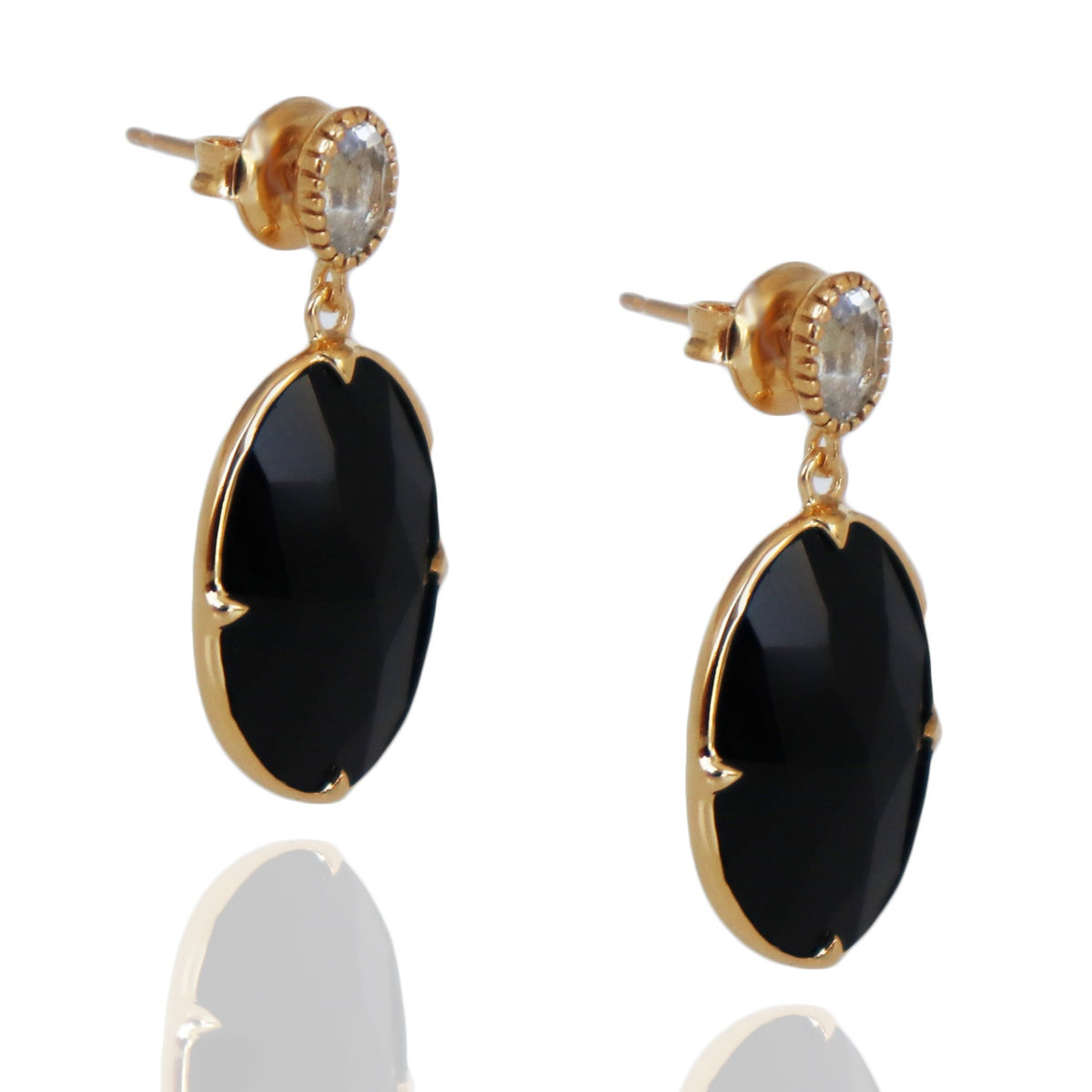 FEARLESS EARRINGS - BLACK ONYX, WHITE TOPAZ & GOLD - SO PRETTY CARA COTTER