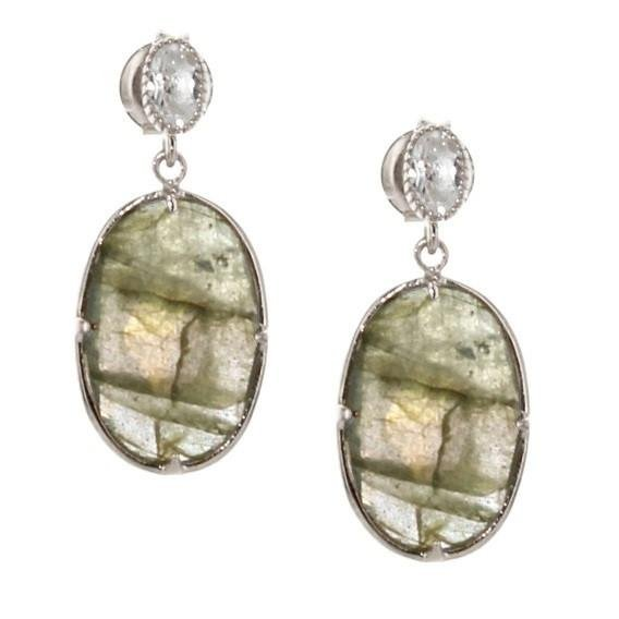 FEARLESS EARRINGS - LABRADORITE, WHITE TOPAZ & SILVER - SO PRETTY CARA COTTER