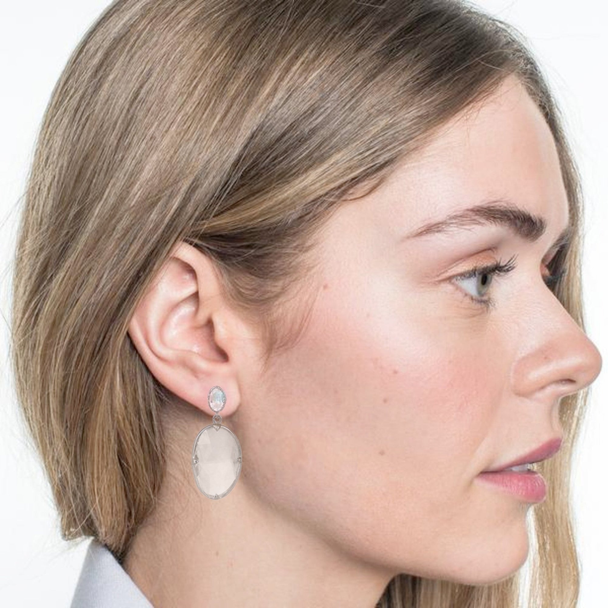 FEARLESS EARRINGS - WHITE TOPAZ & SILVER - SO PRETTY CARA COTTER