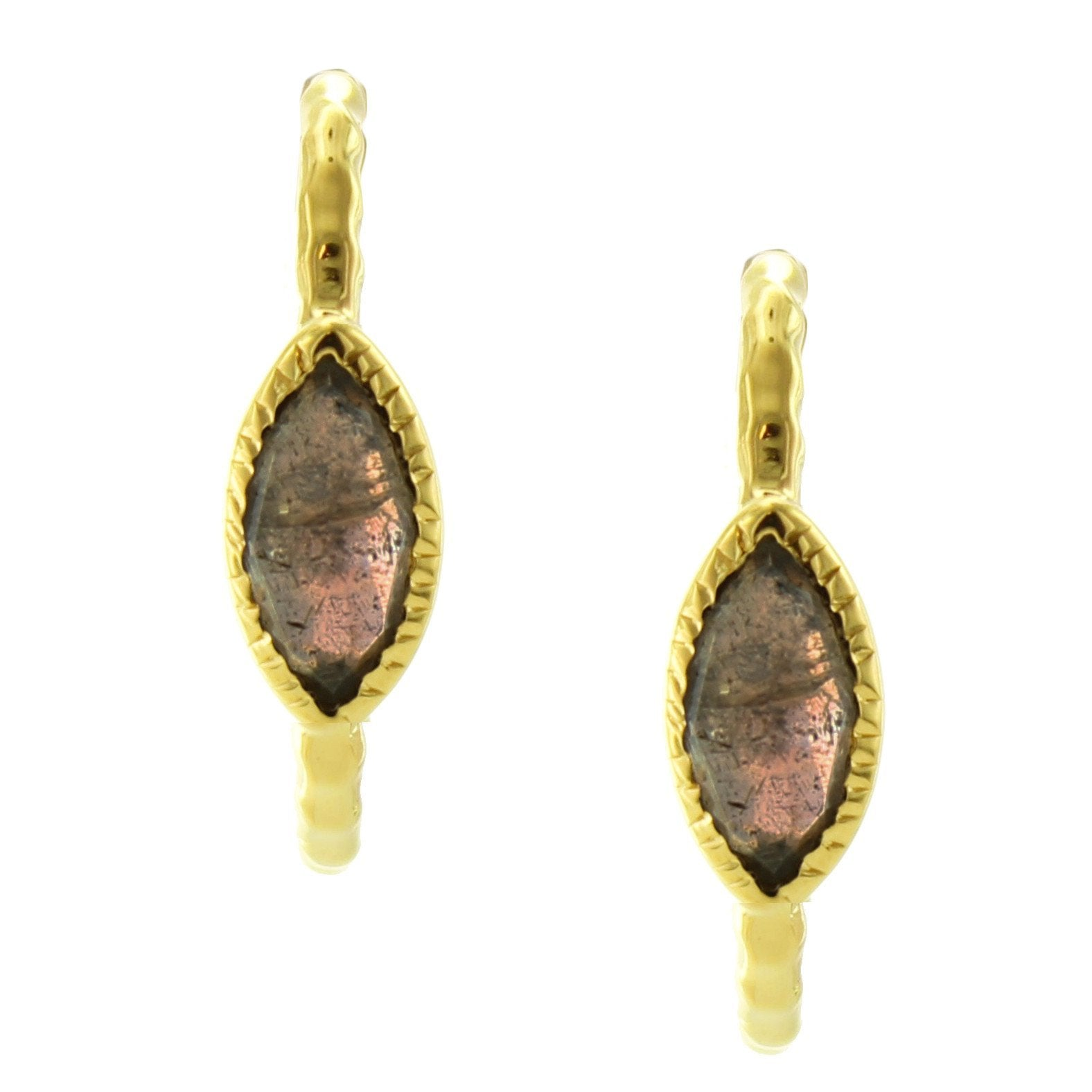 Fearless Marquise Hoop Earrings - Labradorite & Gold - SO PRETTY CARA COTTER