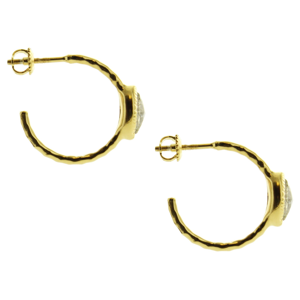 Fearless Marquise Hoop Earrings - White Topaz & Gold - SO PRETTY CARA COTTER