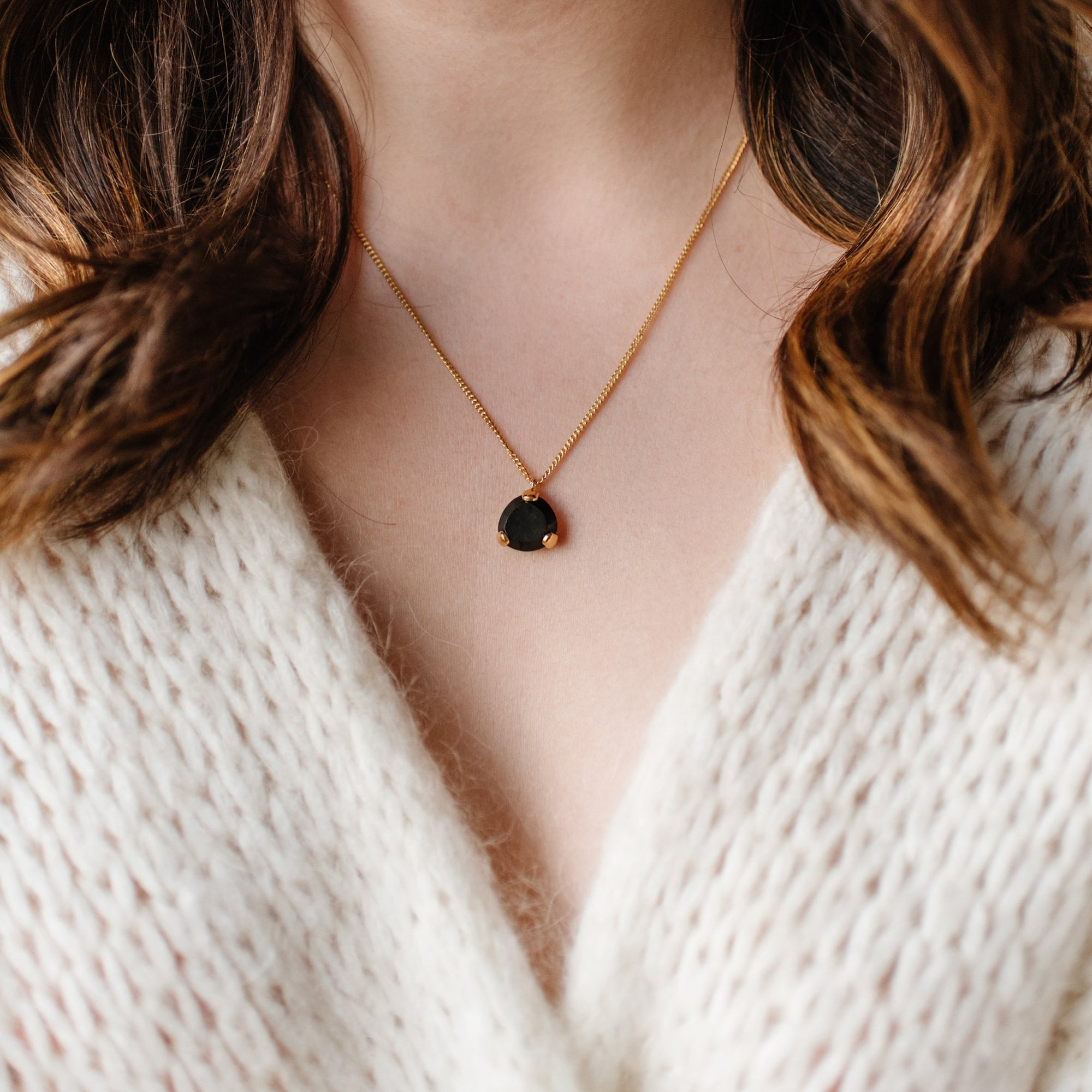 Fearless Mini Pendant Necklace - Black Onyx & Gold - SO PRETTY CARA COTTER