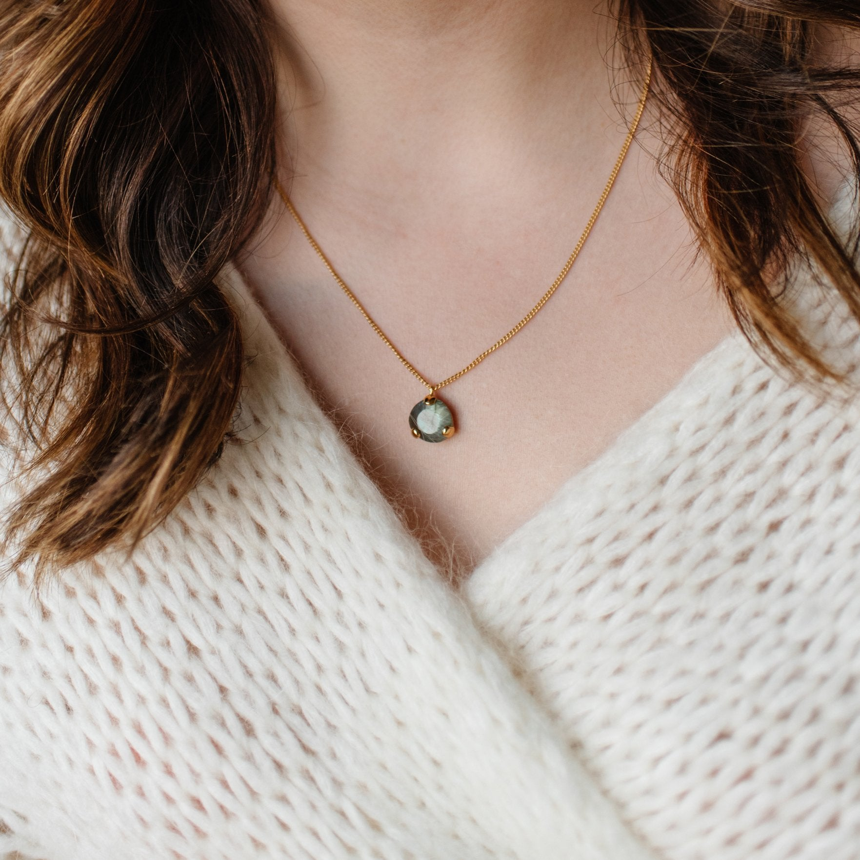 Fearless Mini Pendant Necklace - Labradorite & Gold - SO PRETTY CARA COTTER