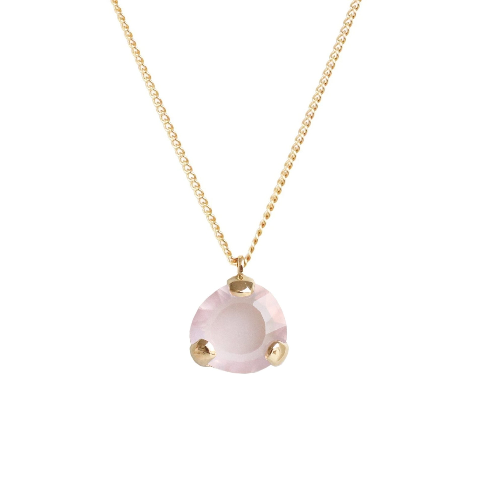 Fearless Mini Pendant Necklace - Pink Quartz & Gold - SO PRETTY CARA COTTER