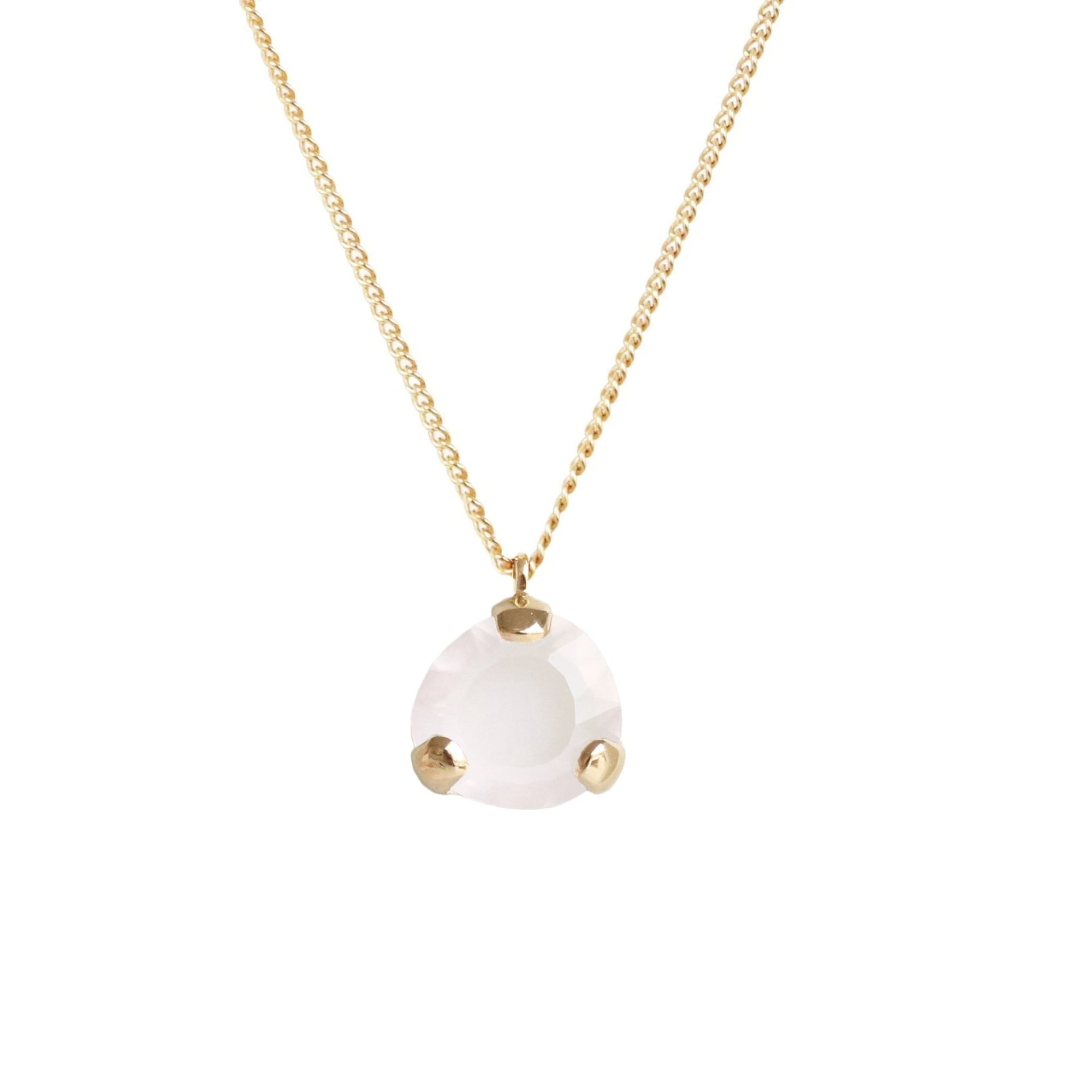 Fearless Mini Pendant Necklace - Rainbow Moonstone & Gold - SO PRETTY CARA COTTER