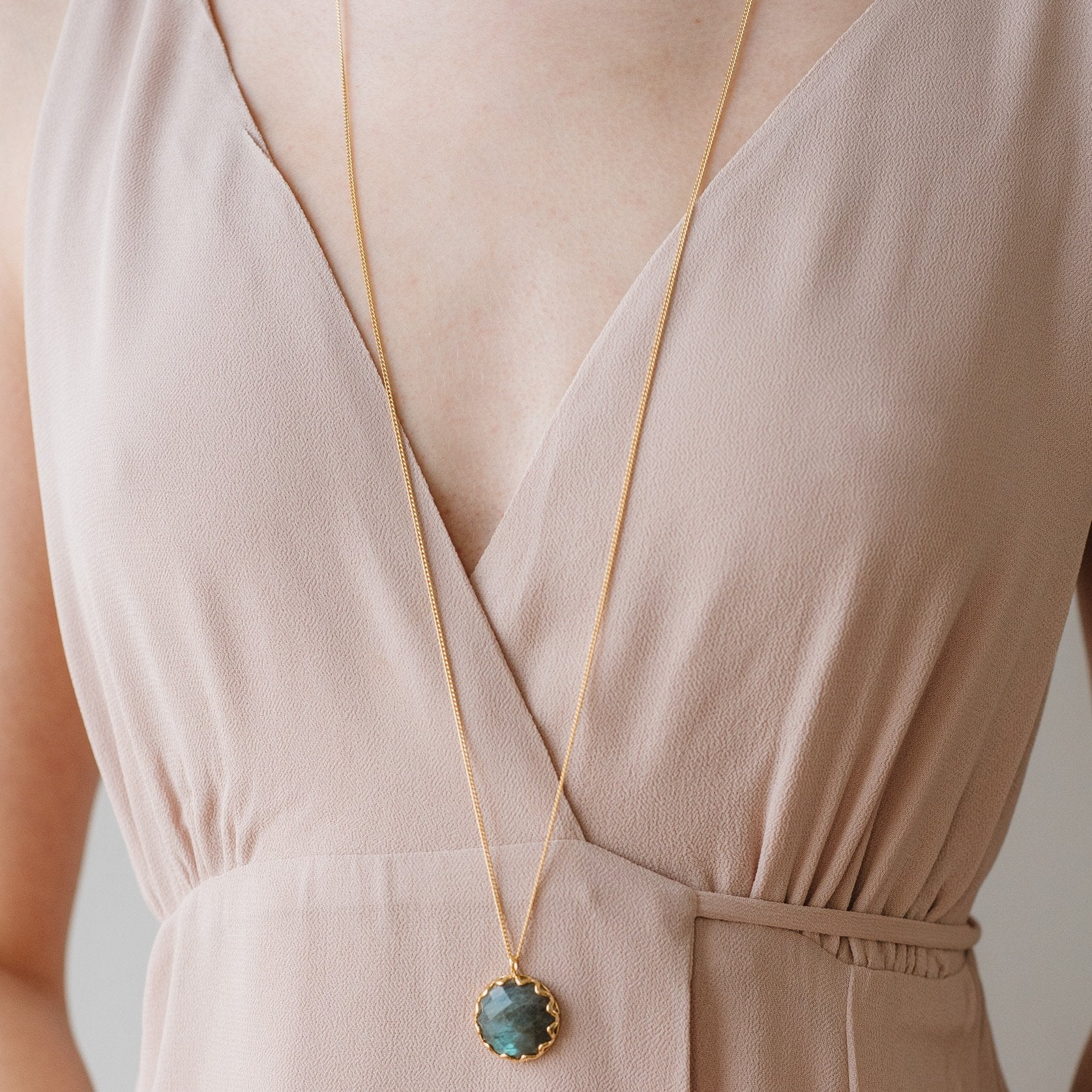 FEARLESS NECKLACE - LABRADORITE & GOLD - SO PRETTY CARA COTTER
