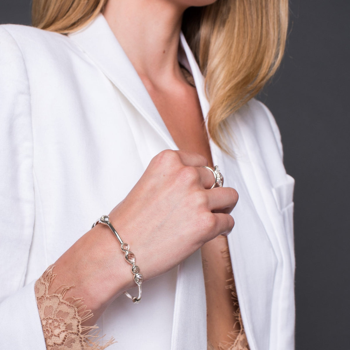 Fearless Oval Bangle - White Topaz & Gold - SO PRETTY CARA COTTER