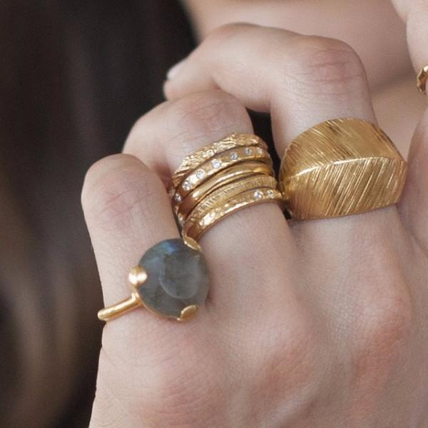 FEARLESS RING - LABRADORITE & SILVER - SO PRETTY CARA COTTER
