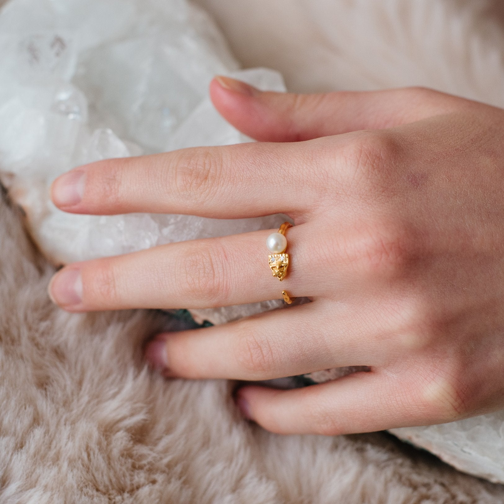 FIERCE ADJUSTABLE RING - FRESHWATER PEARL, CUBIC ZIRCONIA & GOLD - SO PRETTY CARA COTTER