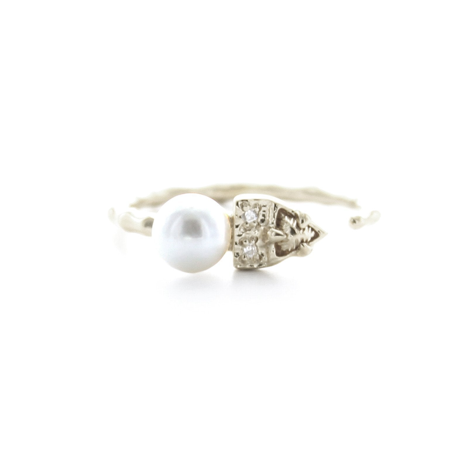 FIERCE ADJUSTABLE RING - FRESHWATER PEARL, CUBIC ZIRCONIA & SILVER - SO PRETTY CARA COTTER
