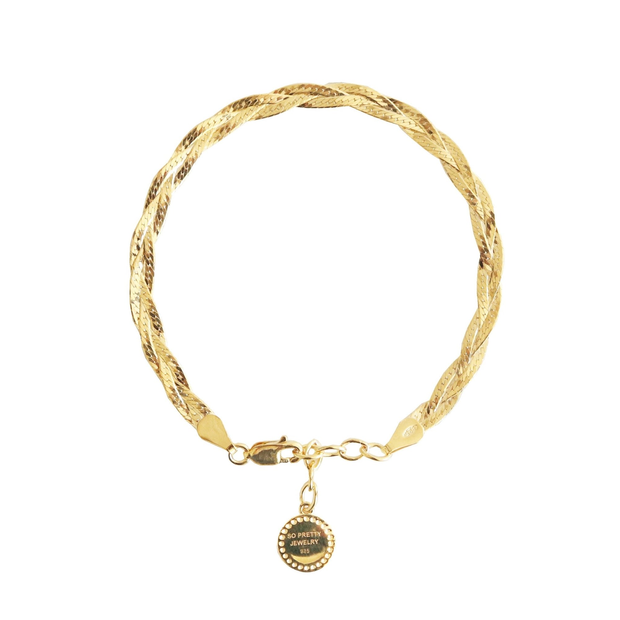 "FRAICHE INSPIRE BRAIDED HERRINGBONE BRACELET- GOLD 6-7"" - SO PRETTY CARA COTTER"