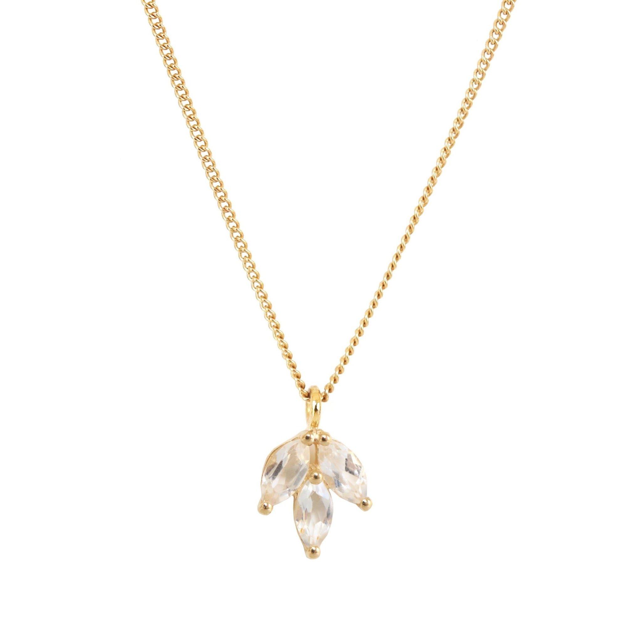FRAICHE INSPIRE CRYSTAL OLIVE LEAF NECKLACE - WHITE TOPAZ & GOLD - SO PRETTY CARA COTTER