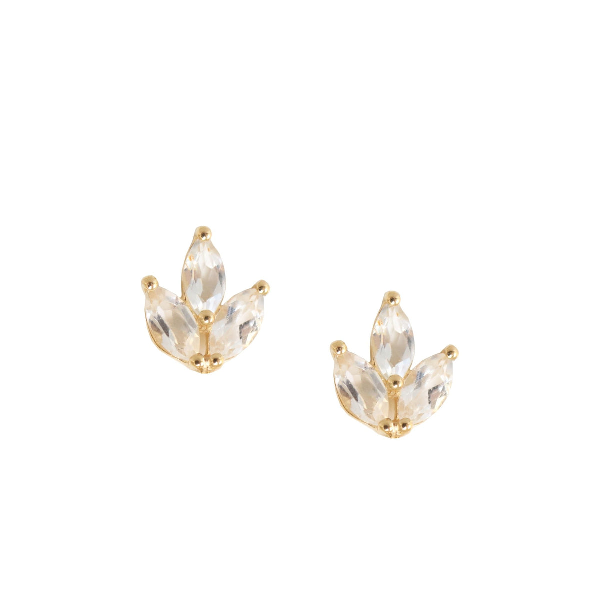 FRAICHE INSPIRE CRYSTAL OLIVE LEAF STUDS - WHITE TOPAZ & GOLD - SO PRETTY CARA COTTER