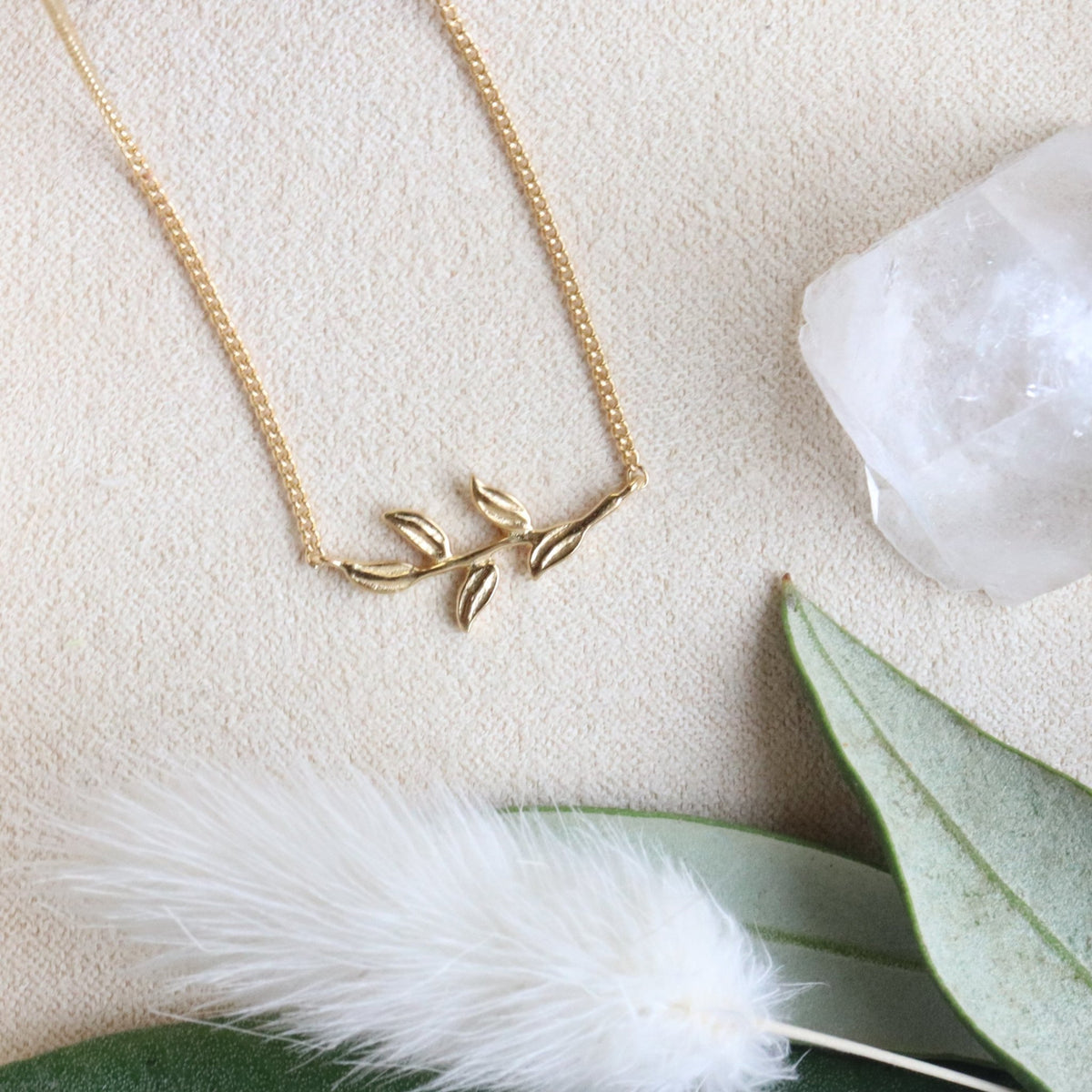 FRAICHE INSPIRE OLIVE LEAF NECKLACE - GOLD - SO PRETTY CARA COTTER