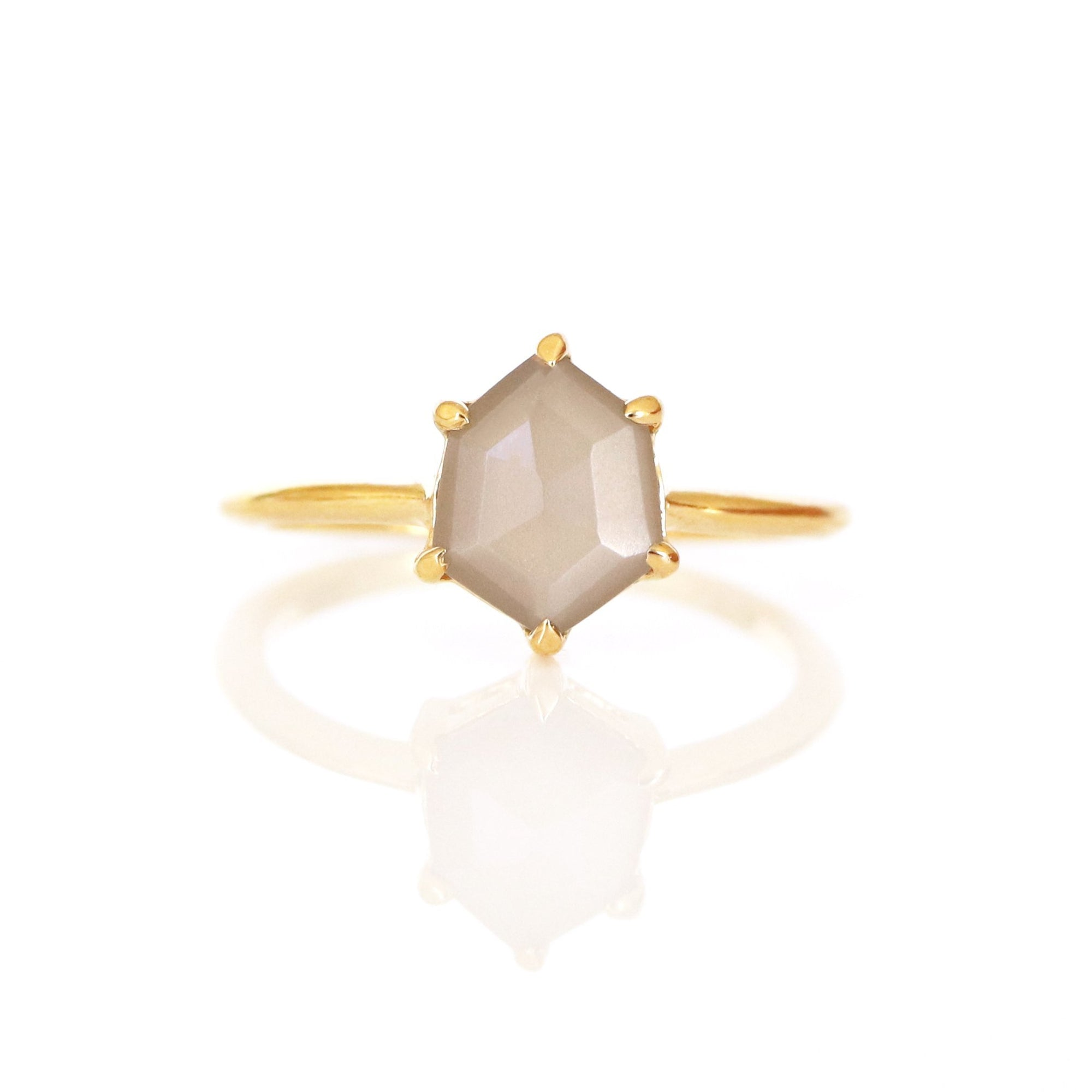 FRAICHE MINI HONOUR SHIELD RING- CHAI MOONSTONE & GOLD - SO PRETTY CARA COTTER