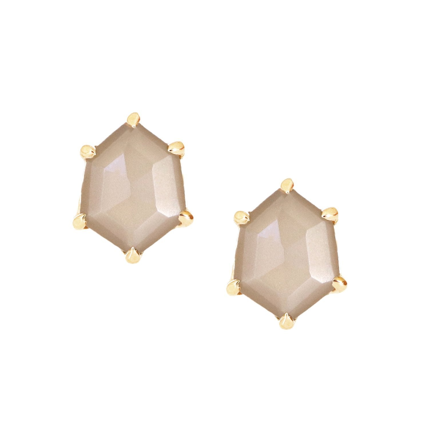 FRAICHE MINI HONOUR SHIELD STUD EARRINGS - CHAI MOONSTONE & GOLD - SO PRETTY CARA COTTER
