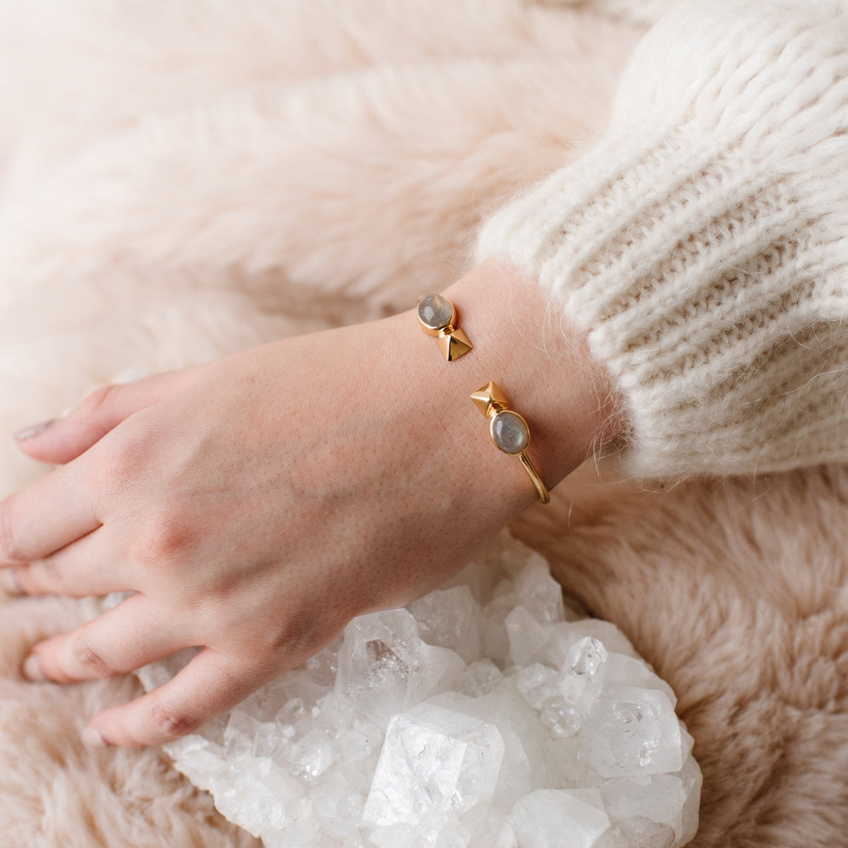 GLEE CUFF - LABRADORITE & GOLD - SO PRETTY CARA COTTER