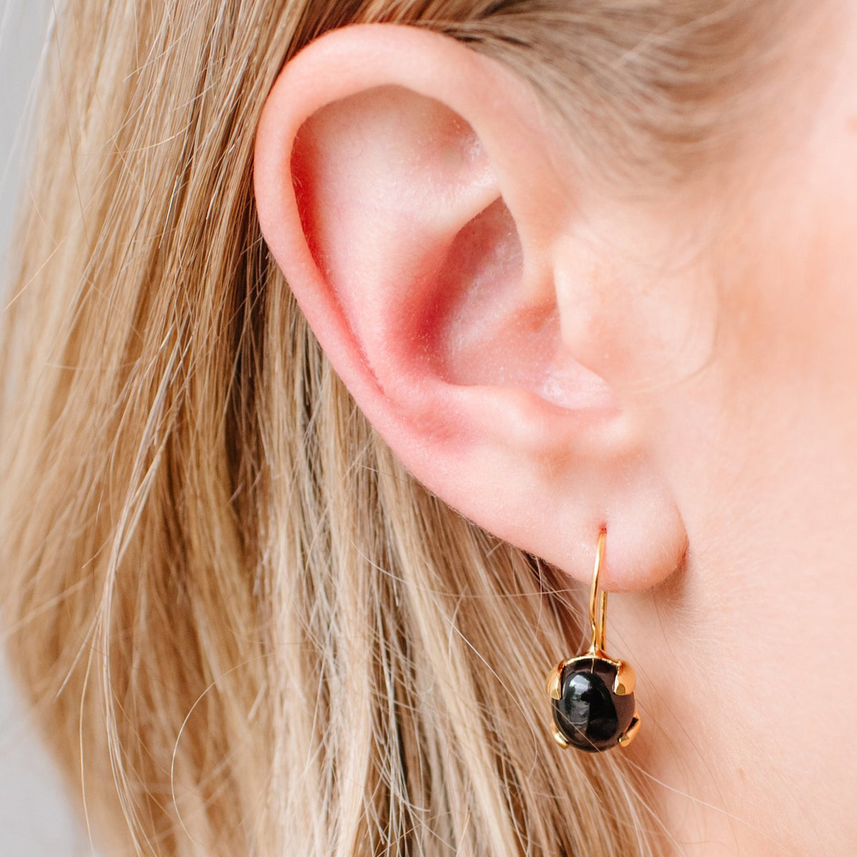 GLEE DROP EARRINGS - BLACK ONYX & GOLD - SO PRETTY CARA COTTER