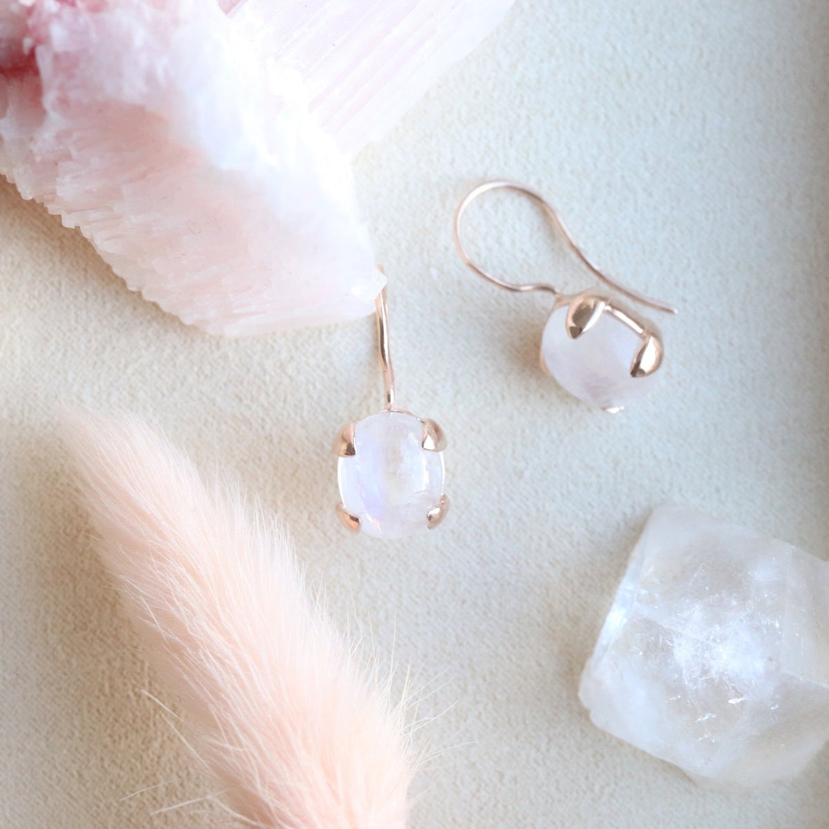 GLEE DROP EARRINGS - RAINBOW MOONSTONE & ROSE GOLD - SO PRETTY CARA COTTER