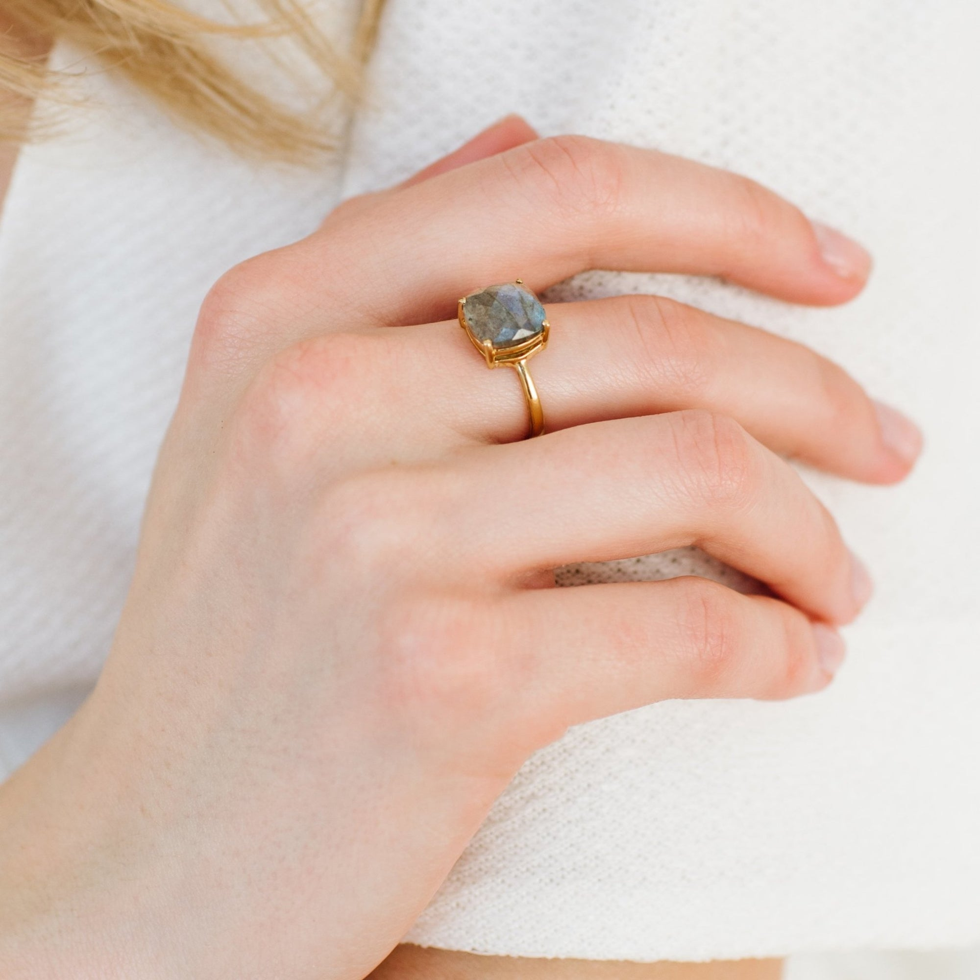 GLEE RING - LABRADORITE & GOLD - SO PRETTY CARA COTTER
