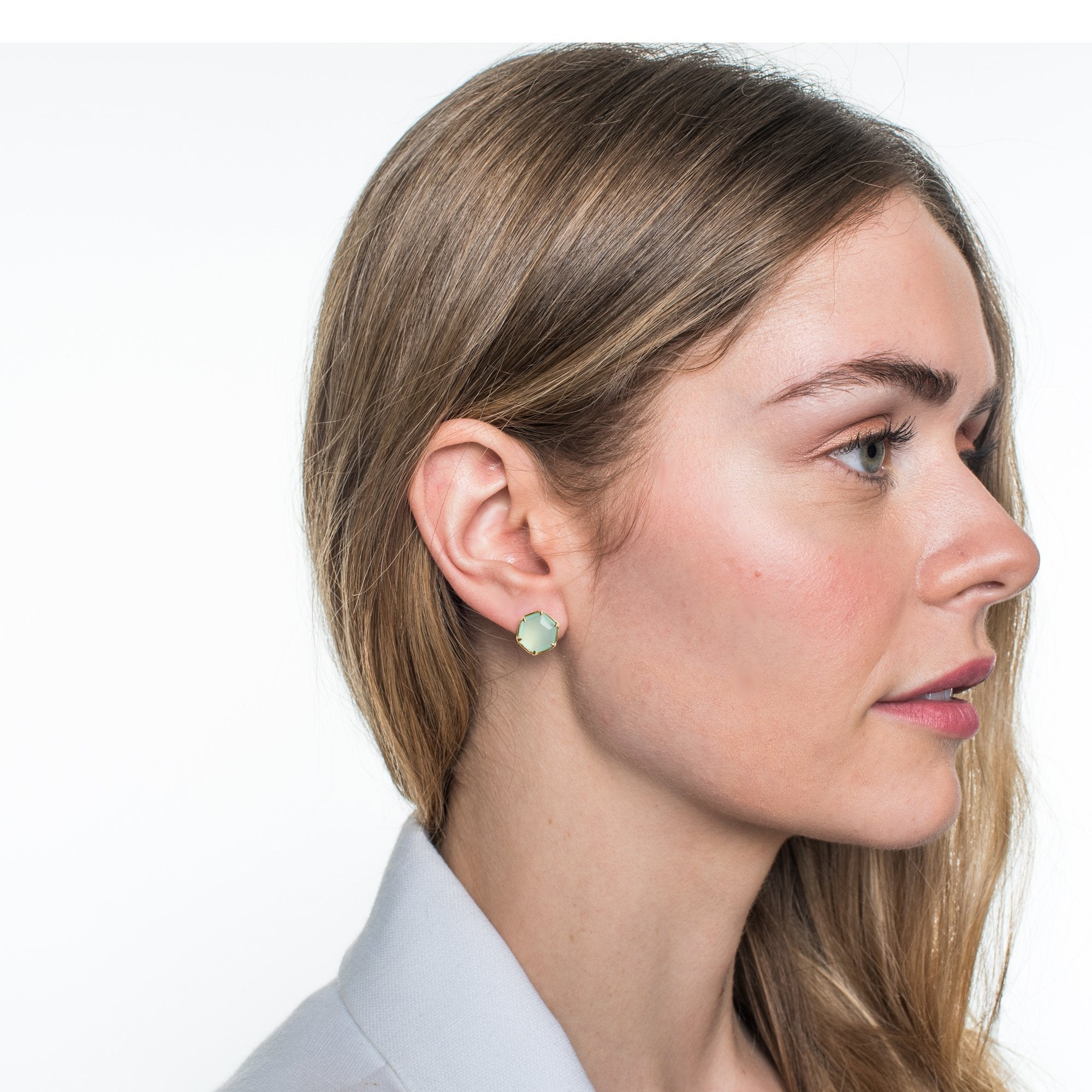 GRACE HEXAGON STUD EARRINGS - AQUA CHALCEDONY & GOLD - SO PRETTY CARA COTTER