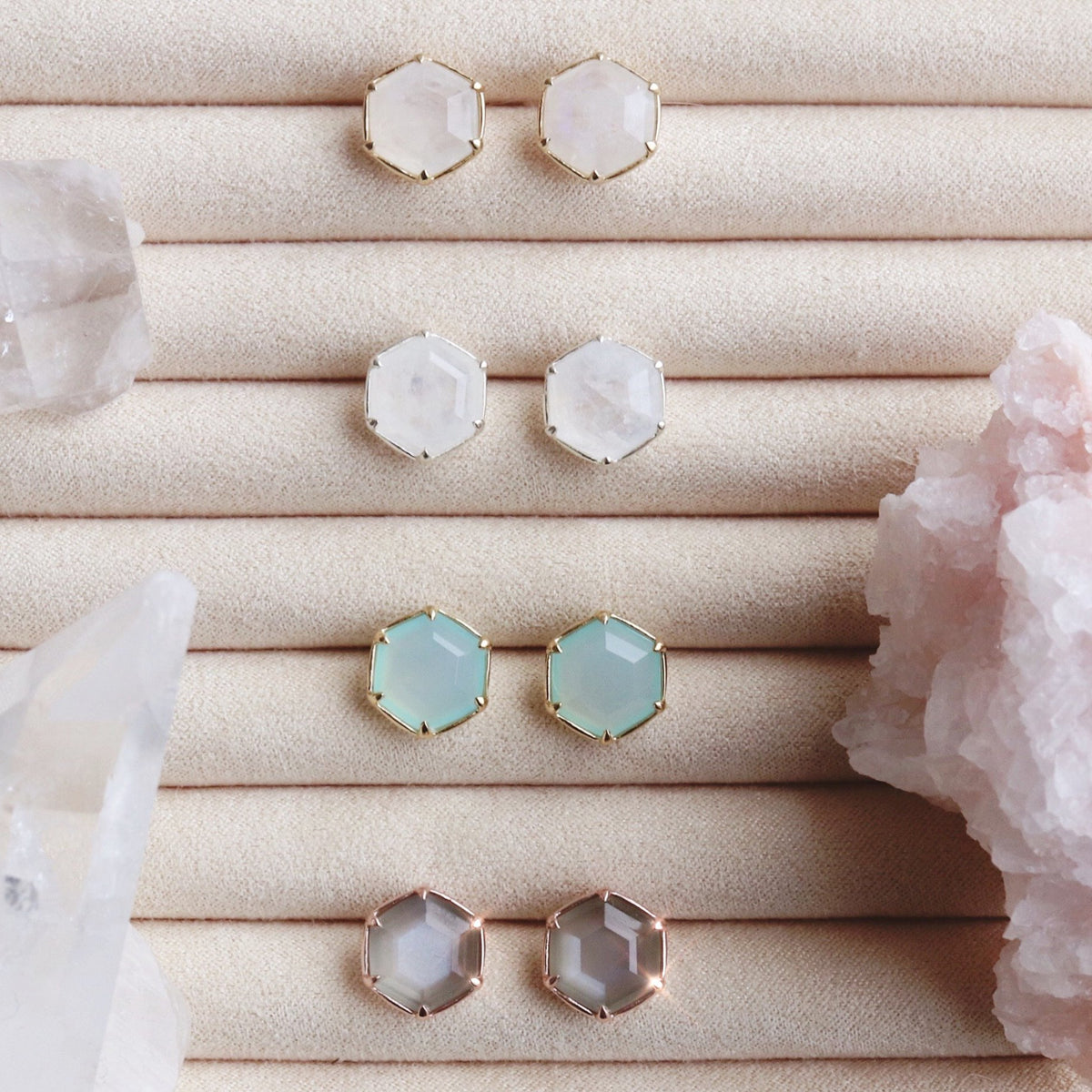 GRACE HEXAGON STUD EARRINGS - GREY MOONSTONE & ROSE GOLD - SO PRETTY CARA COTTER
