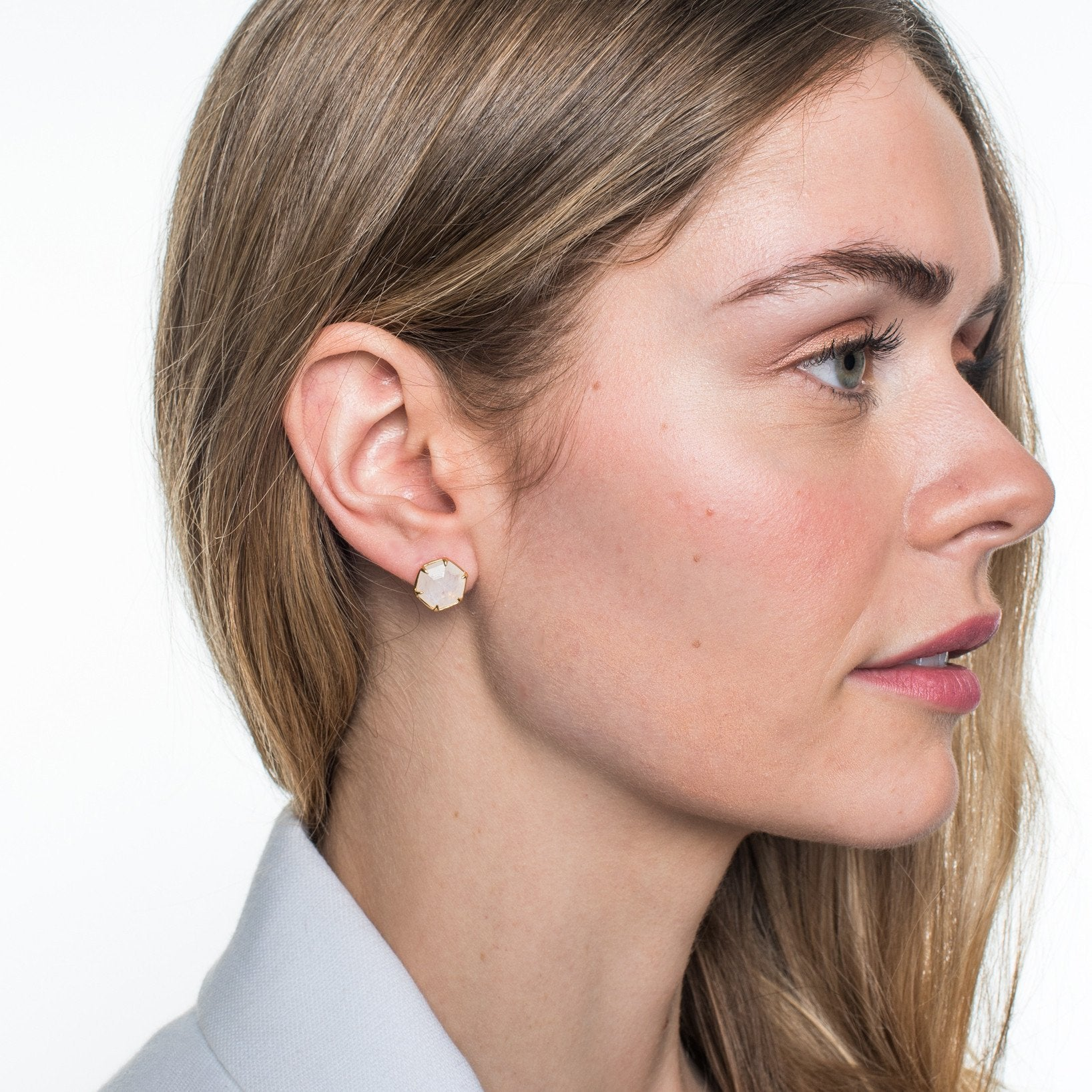 GRACE HEXAGON STUD EARRINGS - RAINBOW MOONSTONE & GOLD - SO PRETTY CARA COTTER
