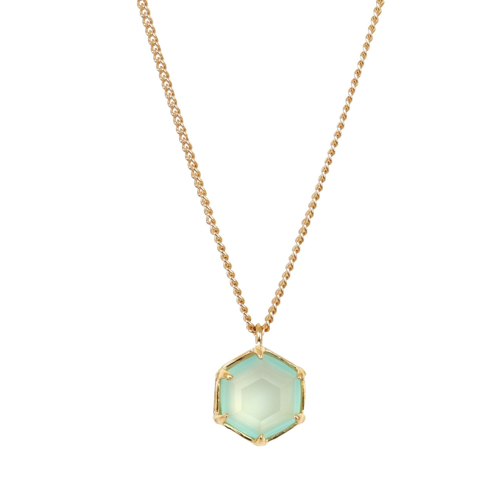 GRACE REVERSIBLE NECKLACE - AQUA CHALCEDONY & GOLD - SO PRETTY CARA COTTER