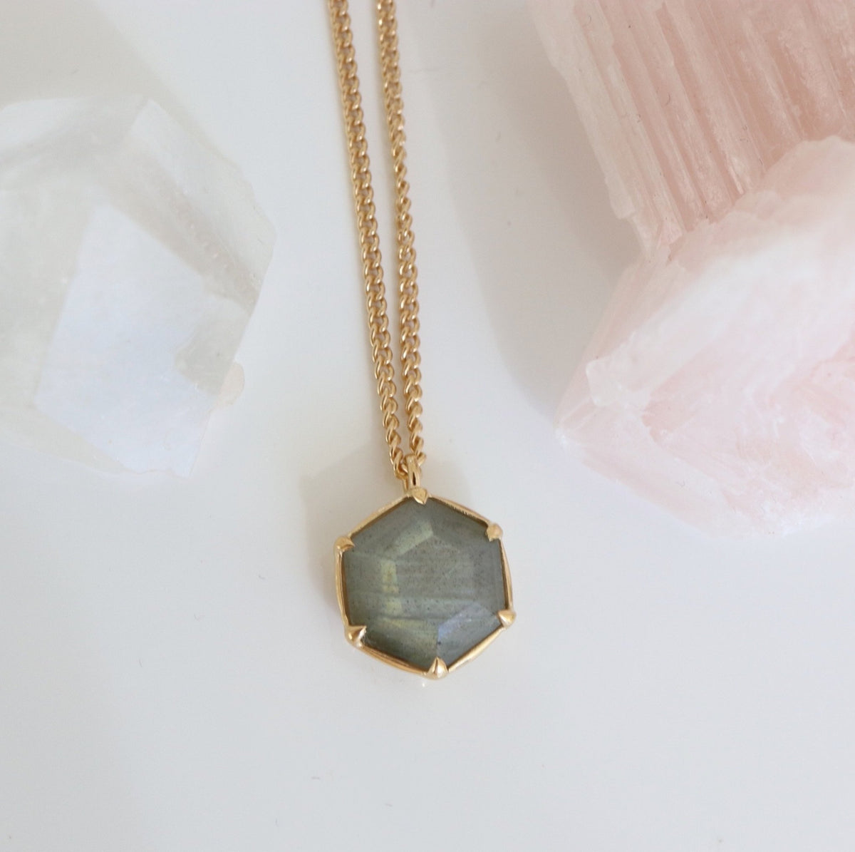 GRACE REVERSIBLE NECKLACE - LABRADORITE & GOLD - SO PRETTY CARA COTTER