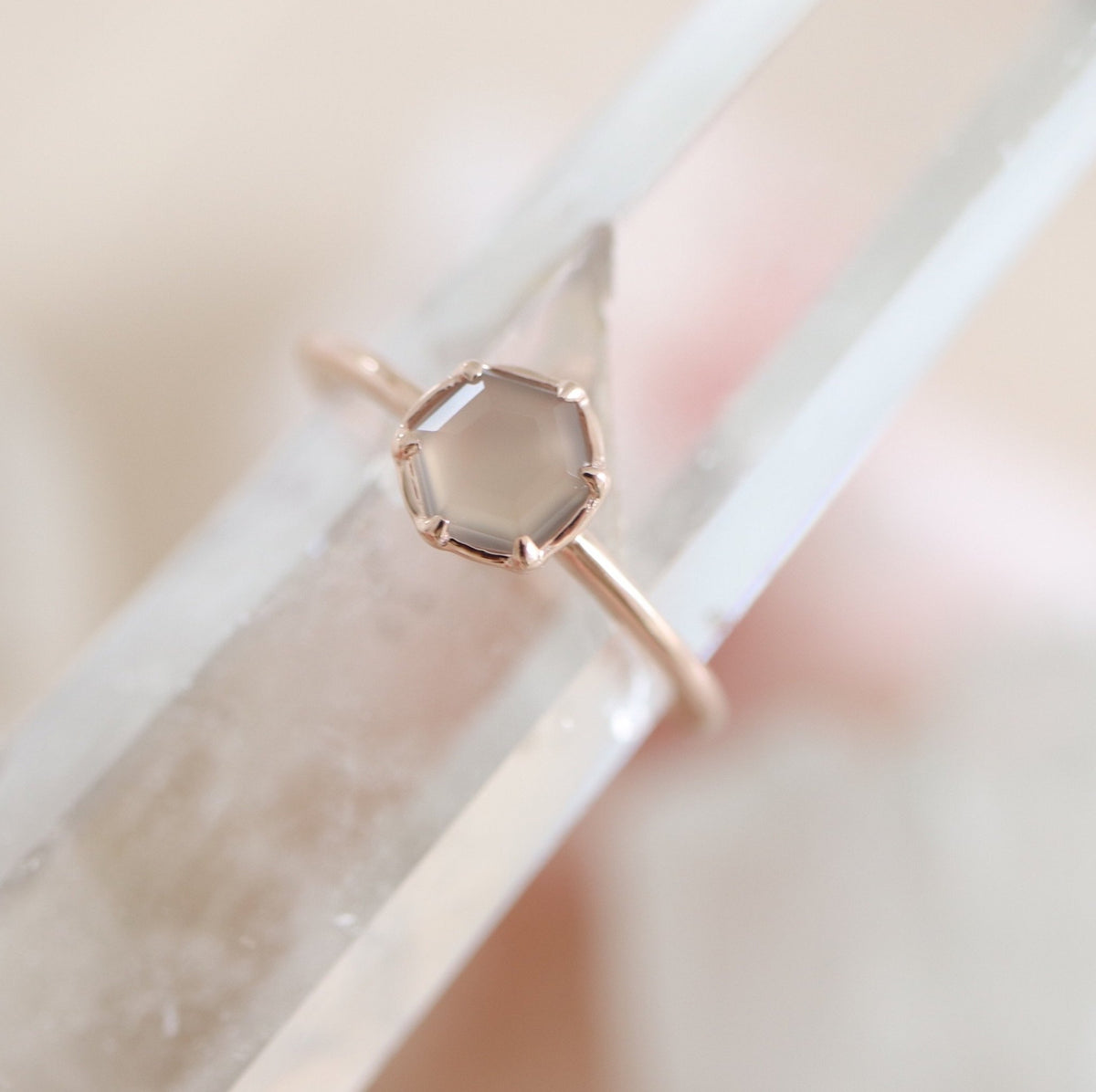 GRACE RING GREY MOONSTONE & ROSE GOLD - SO PRETTY CARA COTTER