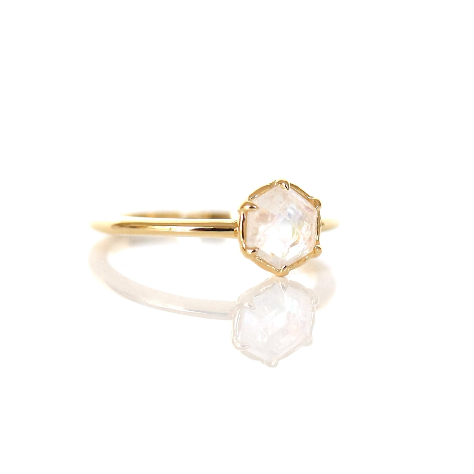 GRACE RING RAINBOW MOONSTONE & GOLD - SO PRETTY CARA COTTER