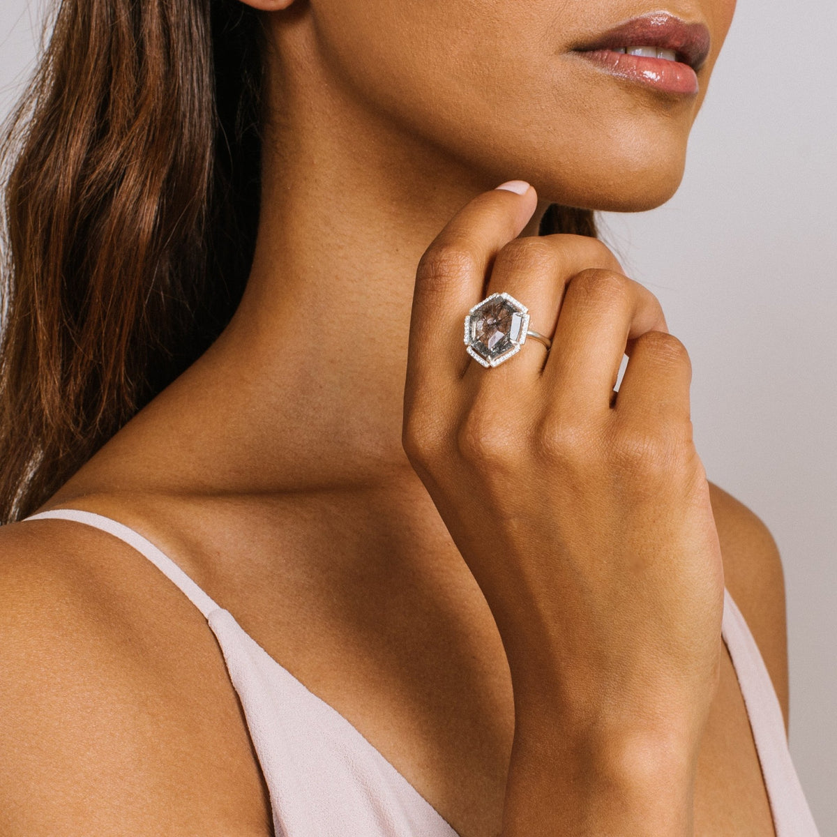 HONOUR SHIELD COCKTAIL RING - BLACK RUTILE QUARTZ & SILVER - SO PRETTY CARA COTTER