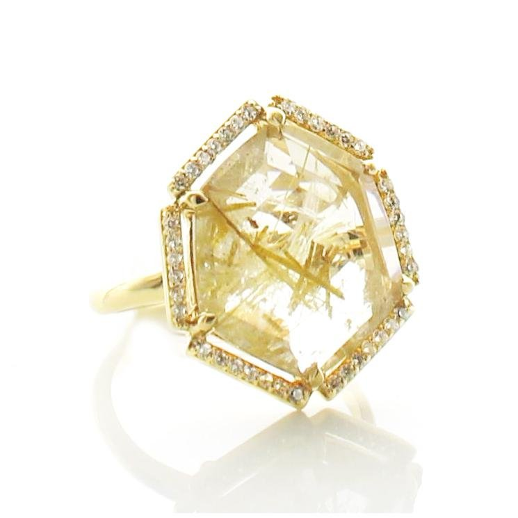 HONOUR SHIELD COCKTAIL RING - GOLDEN RUTILE QUARTZ & GOLD - SO PRETTY CARA COTTER