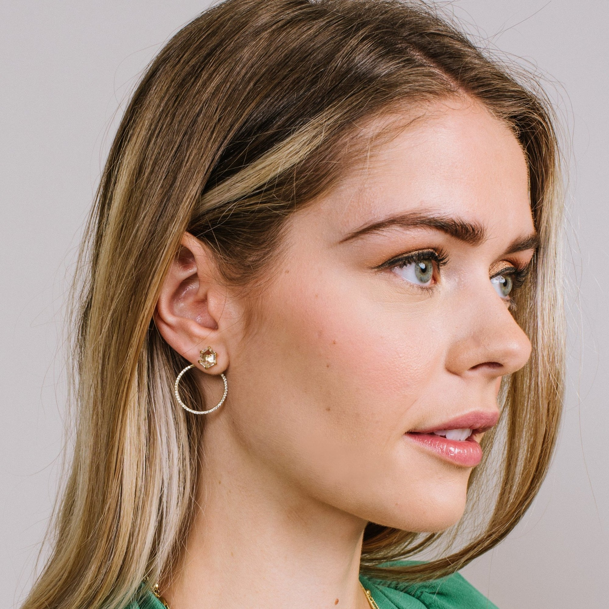 HONOUR SHIELD HOOP EAR JACKETS - WHITE TOPAZ & GOLD - SO PRETTY CARA COTTER