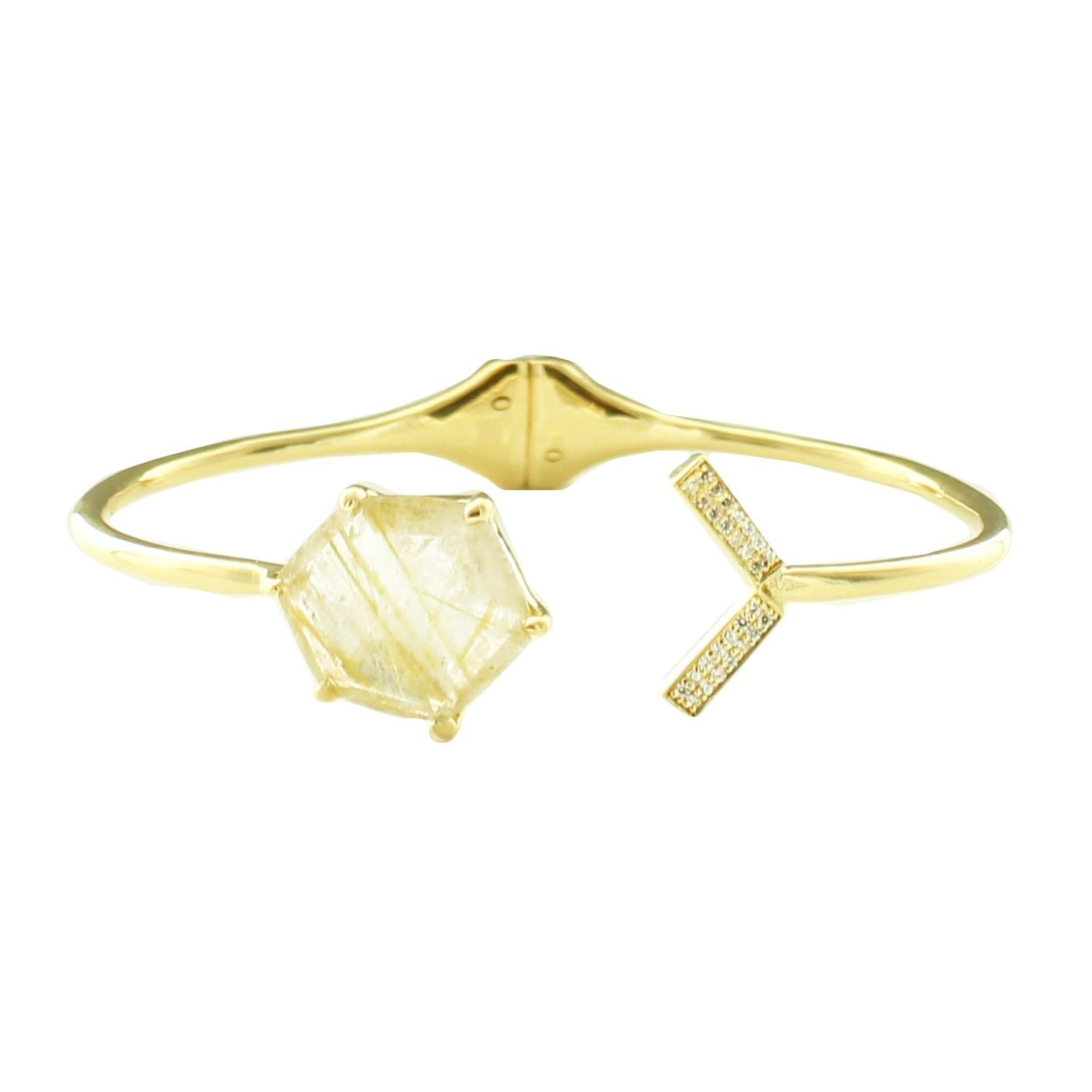 HONOUR SHIELD LOVE CUFF - GOLDEN RUTILE & GOLD - SO PRETTY CARA COTTER