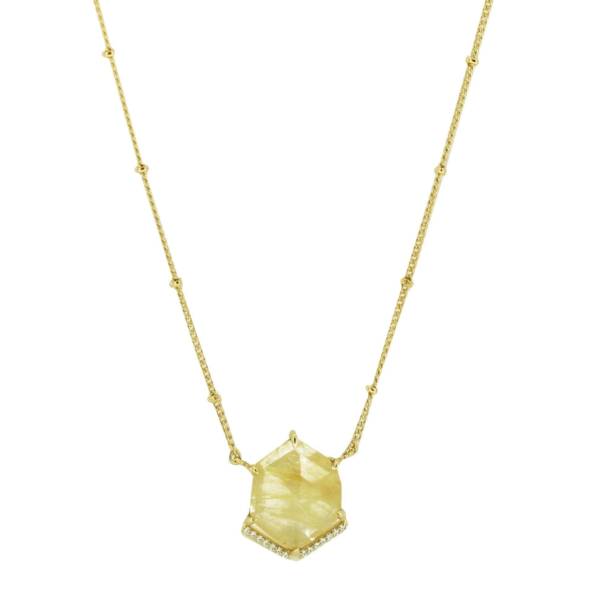 HONOUR SHIELD NECKLACE - GOLDEN RUTILE QUARTZ & GOLD - SO PRETTY CARA COTTER