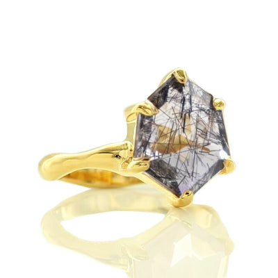 HONOUR SHIELD RING - BLACK RUTILE QUARTZ & GOLD - SO PRETTY CARA COTTER