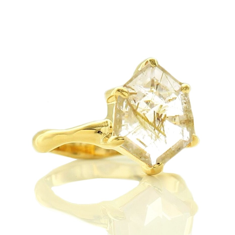 HONOUR SHIELD RING - GOLDEN RUTILE QUARTZ & GOLD - SO PRETTY CARA COTTER