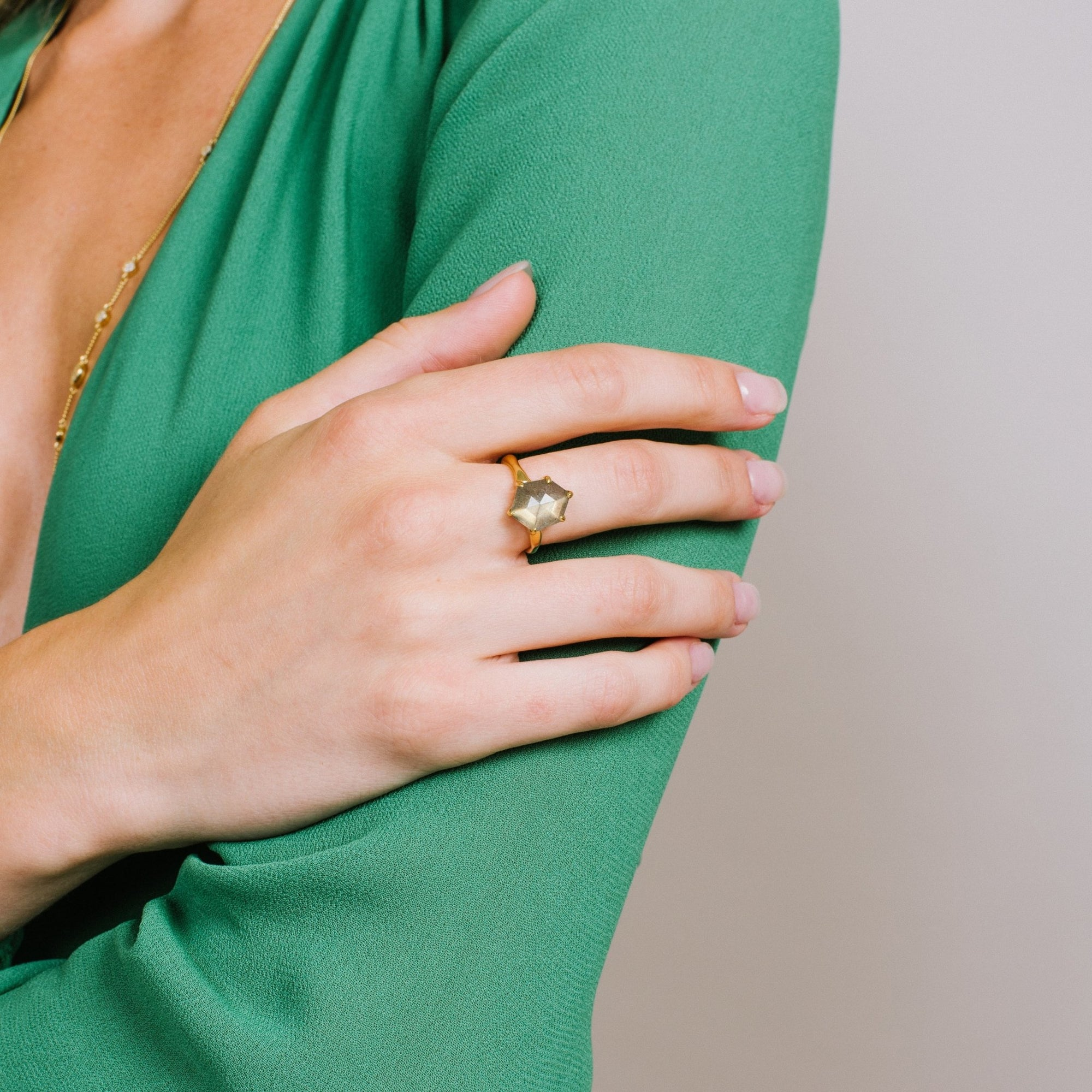 HONOUR SHIELD RING - LABRADORITE & GOLD - SO PRETTY CARA COTTER