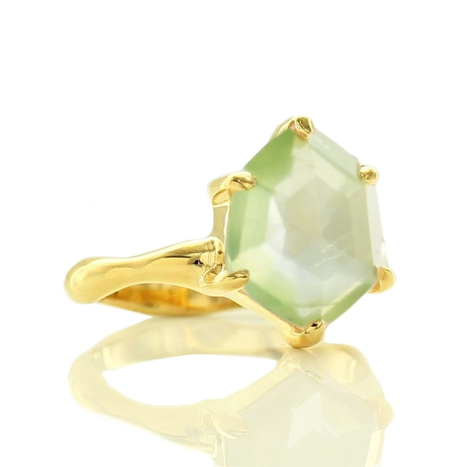HONOUR SHIELD RING - MINT PREHNITE & GOLD - SO PRETTY CARA COTTER