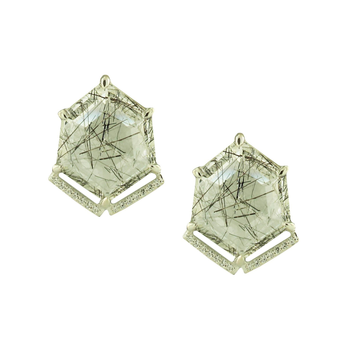 HONOUR SHIELD STATEMENT EARRINGS - BLACK RUTILE QUARTZ & SILVER - SO PRETTY CARA COTTER