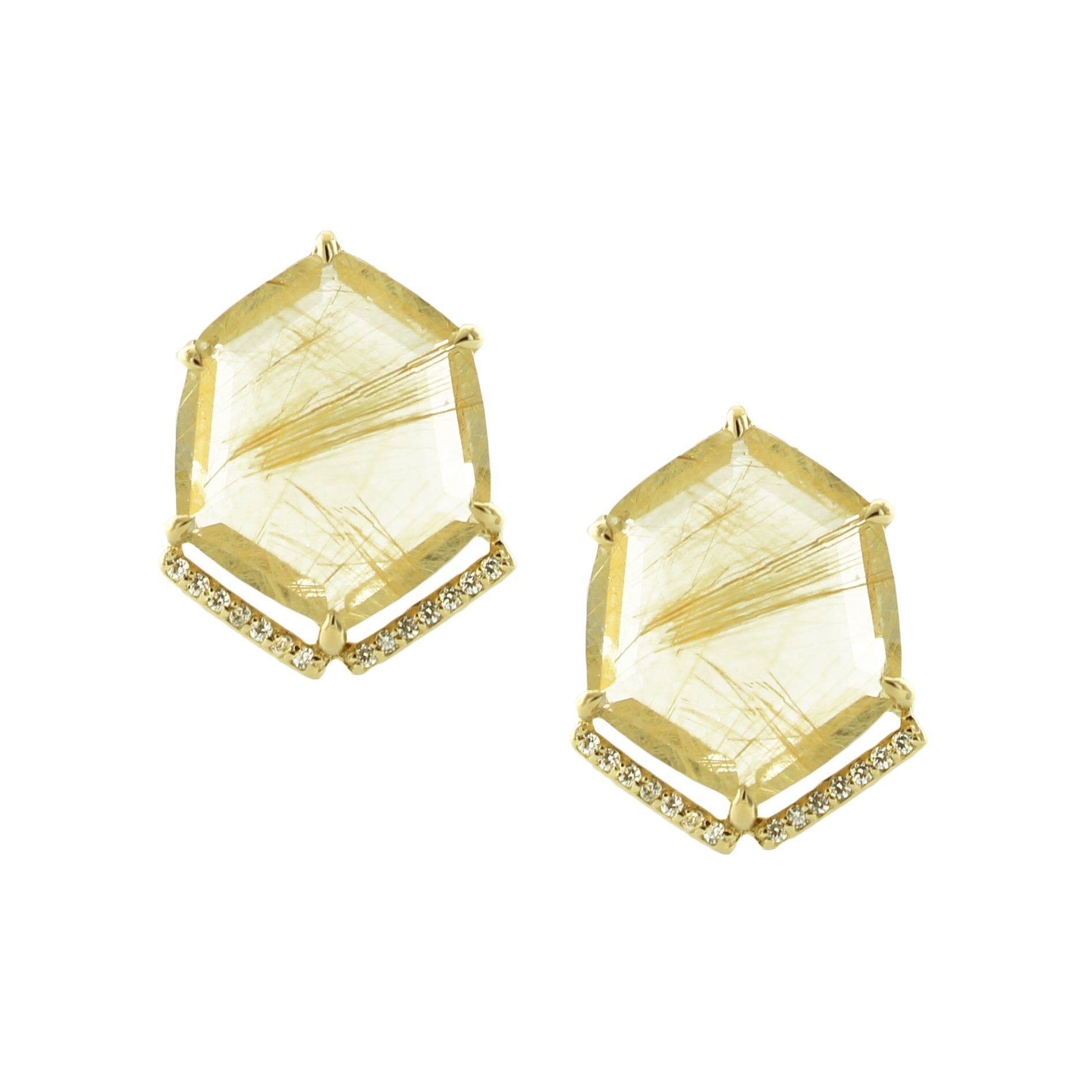 HONOUR SHIELD STATEMENT EARRINGS - GOLDEN RUTILE QUARTZ & GOLD - SO PRETTY CARA COTTER