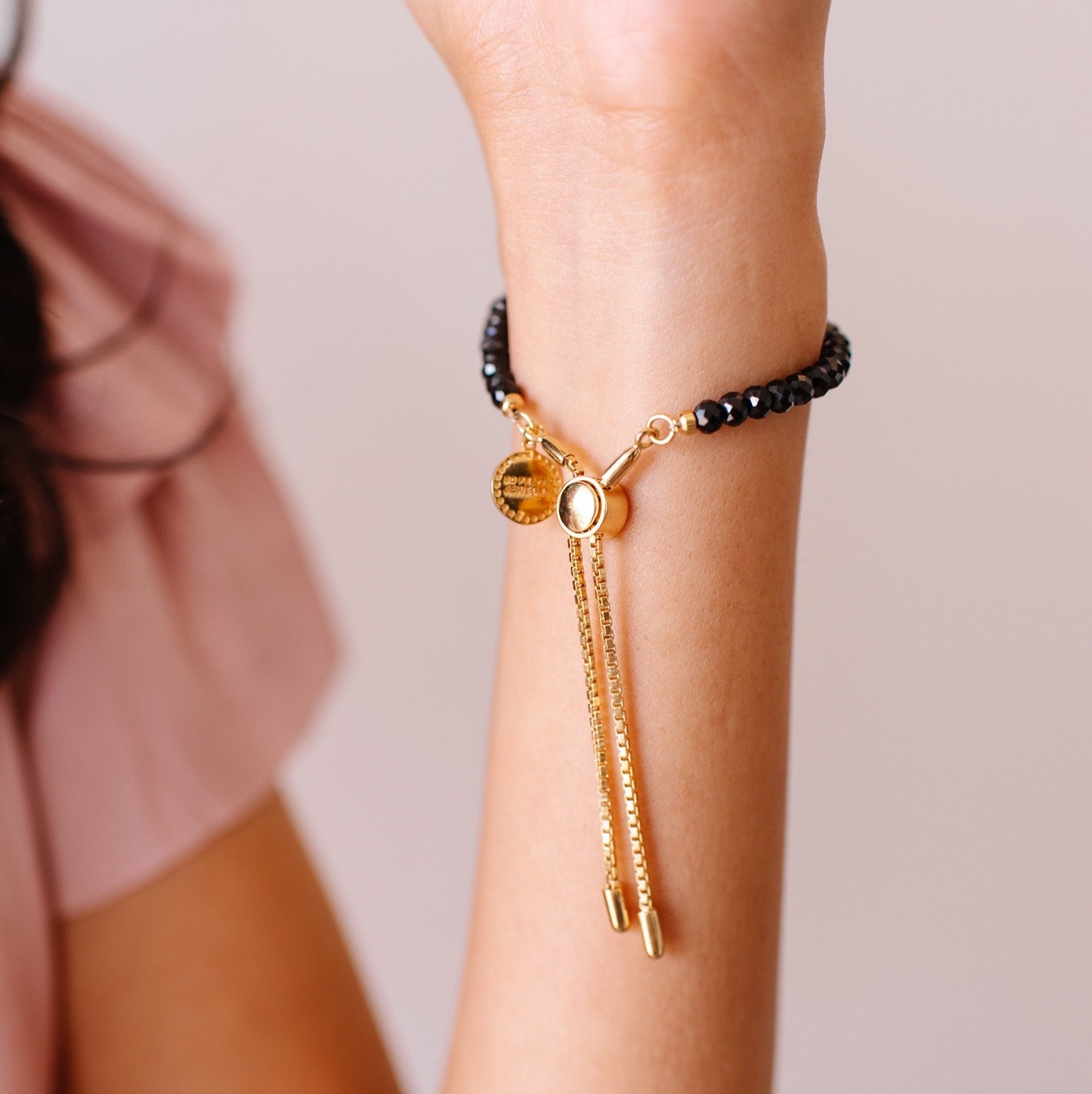 ICONIC ADJUSTABLE BRACELET - BLACK ONYX & GOLD - SO PRETTY CARA COTTER
