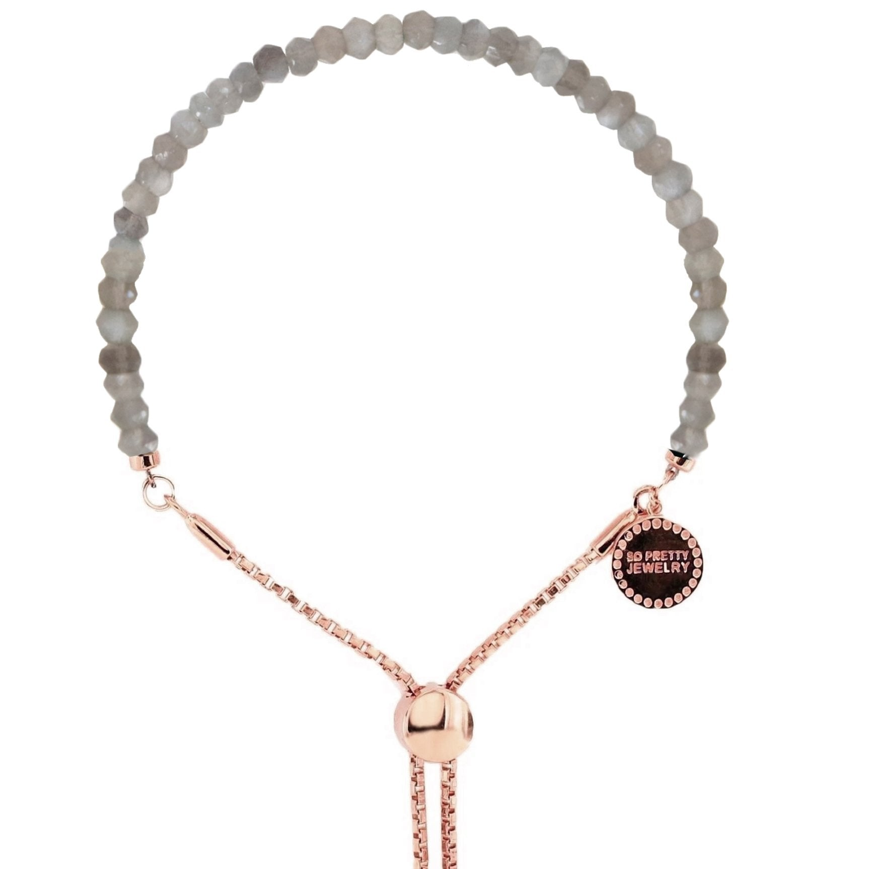 ICONIC ADJUSTABLE BRACELET - GREY MOONSTONE & ROSE GOLD - SO PRETTY CARA COTTER